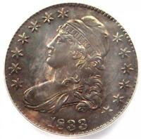 1833 CAPPED BUST HALF DOLLAR 50C COIN O-102 - CERTIFIED ICG MINT STATE 60 DETAIL UNC MS