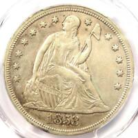 1853 SEATED LIBERTY SILVER DOLLAR $1 - PCGS AU DETAILS -  CERTIFIED COIN