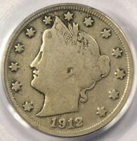 1912-S LIBERTY NICKEL 5C - PCGS F12 FINE -  KEY DATE - CERTIFIED COIN