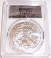 2017 $1 PCGS MS70 FIRST STRIKE SILVER FOIL AMERICAN SILVER EAGLE