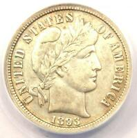 1893-O BARBER DIME 10C - CERTIFIED ANACS EXTRA FINE 40 DETAILS EF40 -  DATE