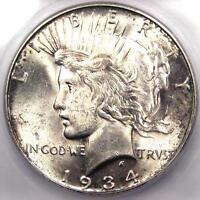 1934-D PEACE SILVER DOLLAR $1 - CERTIFIED ICG MINT STATE 62 BU UNC -  - $240 VALUE