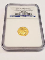 2008 W BUFFALO G$5 1/10TH OZ .9999 FINE GOLD EARLY RELEASE NGC CERTIFIED MS70