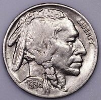 1936 S 5C BUFFALO NICKEL AU ALMOST UNCIRCULATED