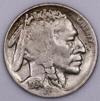 1934 D 5C BUFFALO NICKEL SMALL D VARIETY NICE VF FULL HORN