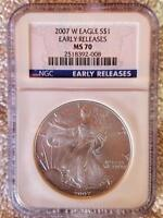 2007 W NGC MS70 ER SILVER EAGLE