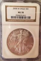 2008 W NGC MS70 SILVER EAGLE