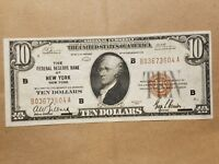 1929 $10 FEDERAL RESERVE BANK NOTE NEW YORK FRBN NATIONAL CURRENCY FR 1860 B