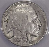 1936 S 5C BUFFALO NICKEL ANACS AU 55