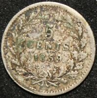 1859 | NETHERLANDS 5 CENTS | SILVER | COINS | KM COINS