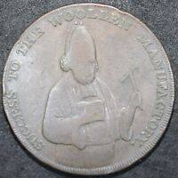 1792 | SUCCESS TO THE WOOLEN MANUFACTORY EXETER HALF PENNY TOKEN | KM COINS