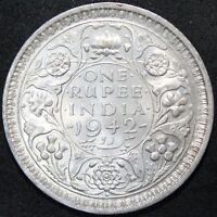 1942 | BRITISH INDIA ONE RUPEE | SILVER | COINS | KM COINS