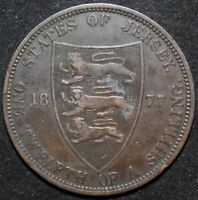 1877 H | JERSEY ONE TWELFTH OF A SHILLING | BRONZE | COINS | KM COINS