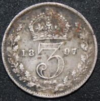 1897 | VICTORIA THREEPENCE | SILVER | COINS | KM COINS