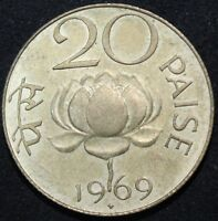 1969 B | INDIA 20 PAISE | NICKEL BRASS | COINS | KM COINS