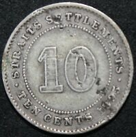 1895 | STRAITS SETTLEMENTS 10 CENTS | SILVER | COINS | KM COINS