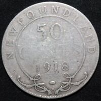 1918 | CANADA NEW FOUNDLAND 50 CENTS | SILVER | COINS | KM COINS