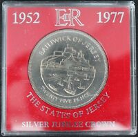 1977 | THE STATES OF JERSEY ELIZABETH II SILVER JUBILEE CROWN COIN | KM COINS