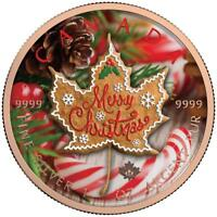 CANADA 2017 5$ MAPLE LEAF MERRY CHRISTMAS GINGERBREAD 1OZ SI