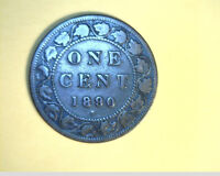 1890 H LARGE CENT MEDIUM GRADE BRONZE  CAN 393
