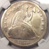 1872-CC SEATED LIBERTY DOLLAR $1 - NGC VG DETAILS -  CARSON CITY COIN