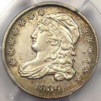 1834 CAPPED BUST DIME 10C JR-4 - PCGS AU DETAIL -  EARLY DATE CERTIFIED COIN