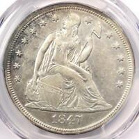 1847 SEATED LIBERTY SILVER DOLLAR $1 - PCGS AU DETAILS -  EARLY DATE COIN