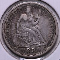EXTRA FINE  1891 SEATED LIBERTY DIME      R1RCH