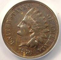 1876 INDIAN CENT 1C - ANACS EXTRA FINE 45 EF45 -  EARLY DATE CERTIFIED PENNY