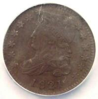 1821 CAPPED BUST DIME 10C - NGC AU DETAILS -  EARLY DATE CERTIFIED COIN