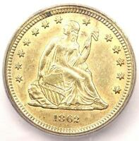 1862-S SEATED LIBERTY QUARTER 25C - CERTIFIED ICG MINT STATE 61 BU UNC - $4,620 VALUE