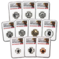 2018 S U.S. SILVER REVERSE PROOF SET 10PC. NGC PF70 FIRST RELEASES TROLLEY LABEL
