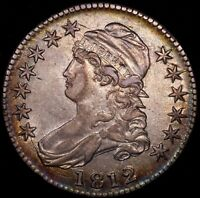 1812 50C CAPPED BUST HALF DOLLAR NICELY TONED AU EXAMPLE