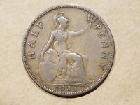 1918 GREAT BRITAIN 1/2 PENNY HALF PENCE COIN BRITISH UNITED KINGDOM UK ENGLISH