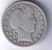 1908 D BARBER HALF DOLLAR 90  SILVER 50 CENT COIN 1/2 $1 FIFTY CENT F FINE