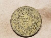 1921 FRENCH TUNISIA 1 FRANC COLONIAL COIN TUNISIAN ONE FRANC NICE