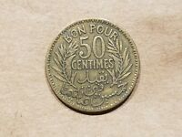 1921 FRENCH TUNISIA 50 CENTIMES COLONIAL COIN TUNISIAN 1/2 FRANC NICE