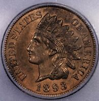 1893 1C RB ICG MS 62 INDIAN CENT