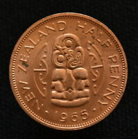 COIN NEW ZEALAND 1/2 PENNY 1965. KM23.2. EF.