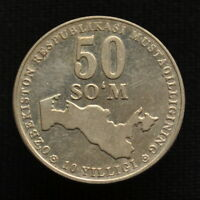 UZBEKISTAN 50 SOM 2001 10TH ANNIV. OF UZBEKISTAN'S INDEPEND COMMEMORATIVE COIN