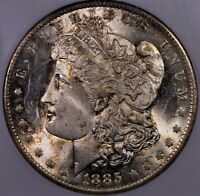 1885 O $1 MORGAN SILVER DOLLAR ANACS MS 65 NICE AND FROST SPL OLD HOLDER