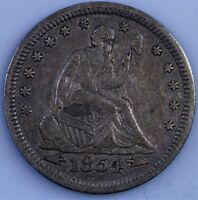 1854 WITH ARROWS PHILADELPHIA MINT SILVER SEATED LIBERTY QUARTER XF  AU