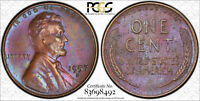 MONSTER TONED 1957-D MINT STATE 63 BN LINCOLN WHEAT CENT 1C PENNY GRADED BY PCGS