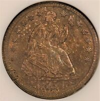 TONED  1854 ARROWS SEATED HALF DIME H10C NGC MS 64