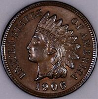 SHARP 1906  INDIAN HEAD CENT   CHOICE BU   FULL LIBERTY  DIAMONDS REV FULL RED