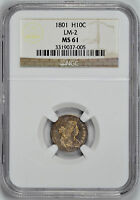 1801 DRAPED BUST H10C NGC MINT STATE 61