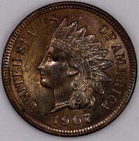 1907  RED/BROWN  CHOICE  UNC INDIAN HEAD CENT TONED