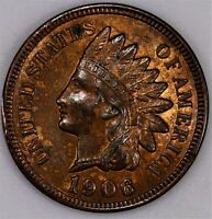 1906 INDIAN HEAD CENT.  ORIGINAL RED BROWN UNC. FIERY