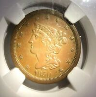 1850 HALF CENT NGC MINT STATE 61