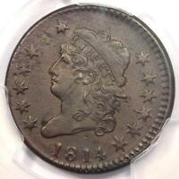 1814 CLASSIC LIBERTY HEAD LARGE CENT 1C CROSSLET - PCGS AU DETAILS -  DATE
